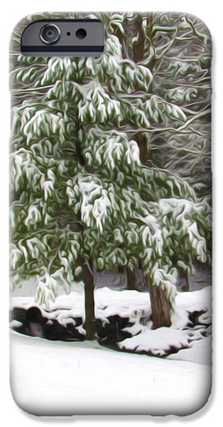 Twiggy Paintings iPhone Cases - Pine tree covered with snow 2 iPhone Case by Lanjee Chee