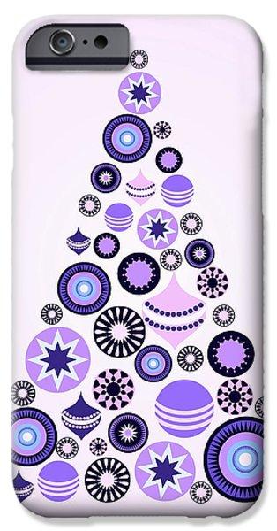 Pines iPhone Cases - Pine Tree Ornaments - Purple iPhone Case by Anastasiya Malakhova