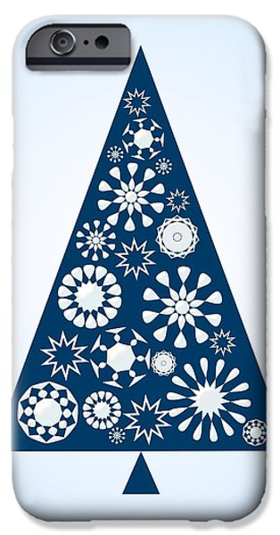 Graphic iPhone Cases - Pine Tree Snowflakes - Blue iPhone Case by Anastasiya Malakhova
