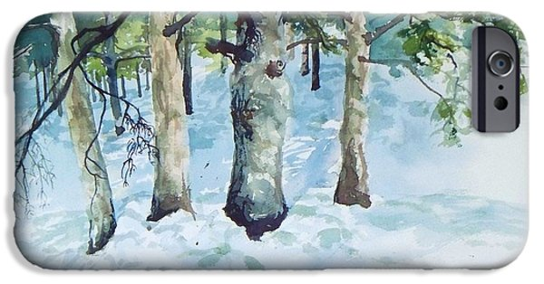 Best Sellers -  - Wintertime iPhone Cases - Pine trees and snow iPhone Case by Joy Nichols