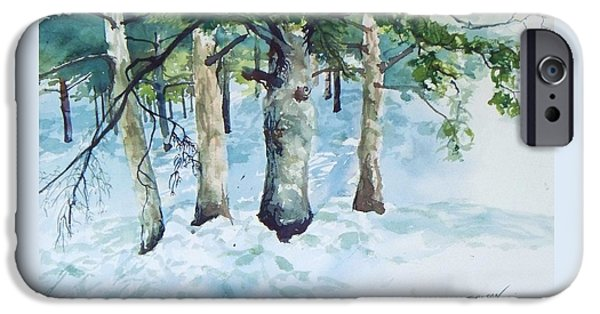 Recently Sold -  - New England Snow Scene iPhone Cases - Pine trees and snow iPhone Case by Joy Nichols