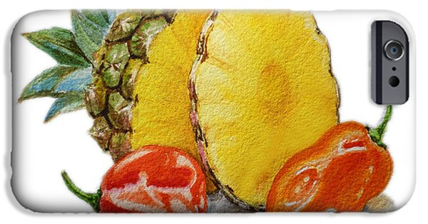 Hot Peppers iPhone Cases - Pineapple Habanero Muy Caliente   iPhone Case by Irina Sztukowski