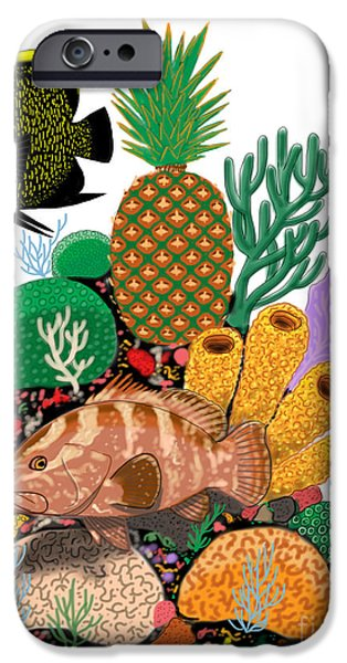 Manatee iPhone Cases - Pineapple Reef iPhone Case by Carey Chen