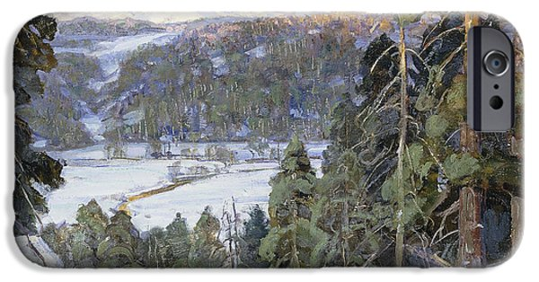 Snowy Day iPhone Cases - Pines in Winter iPhone Case by George Gardner Symons
