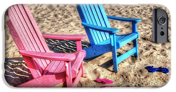 Micdesigns iPhone Cases - Pink and blue Beach Chairs with matching Flip Flops iPhone Case by Michael Thomas