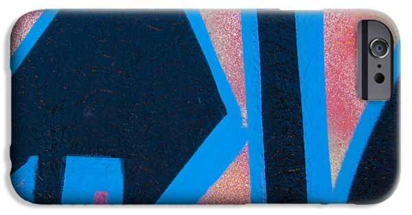 Urban Photographs iPhone Cases - Pink and Blue Graffiti Arrow Square iPhone Case by Carol Leigh