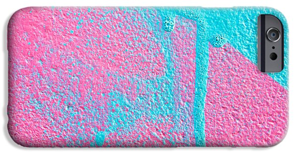 Dribbling iPhone Cases - Pink and blue paint iPhone Case by Tom Gowanlock