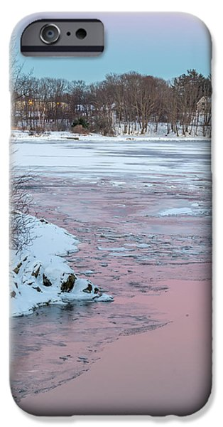 Winter In Maine iPhone Cases - Pink And Blue Sky Tonight iPhone Case by Stroudwater Falls Photography