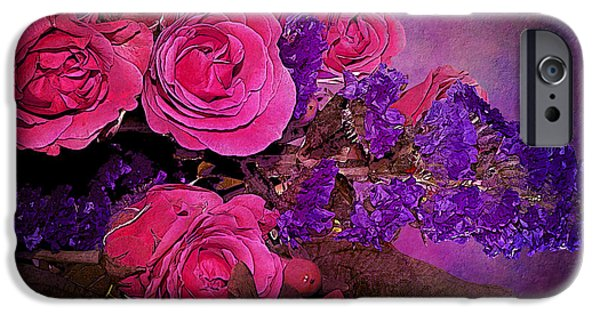Recently Sold -  - Floral Digital Art Digital Art iPhone Cases - Pink And Purple Floral Bouquet iPhone Case by Phyllis Denton