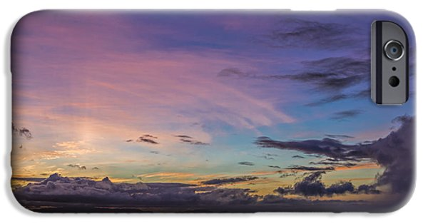 Beach Landscape iPhone Cases - Pink and Purple Sunset iPhone Case by Maria Coulson