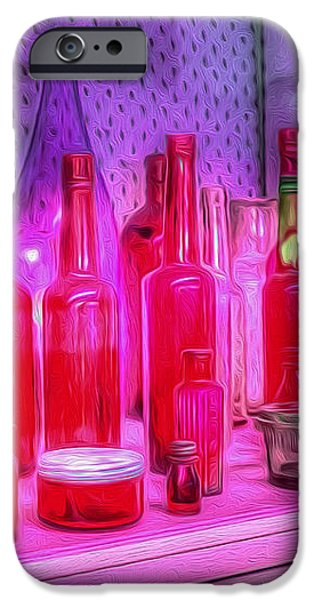 Pink and Red Bottles iPhone Case by Kaye Menner
