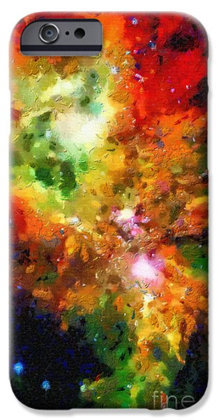 Outer Space Paintings iPhone Cases - Pink and red space cloud iPhone Case by Magomed Magomedagaev