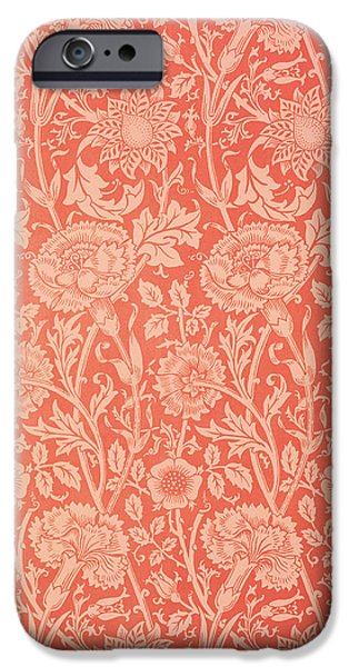 Design Tapestries - Textiles iPhone Cases - Pink and Rose Wallpaper design iPhone Case by William Morris