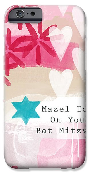 Celebration Mixed Media iPhone Cases - Pink and White Bat Mitzvah- Greeting Card iPhone Case by Linda Woods