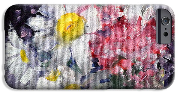 Business Paintings iPhone Cases - Pink and White iPhone Case by Nancy Merkle