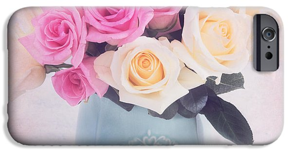 Summer iPhone Cases - Pink and White roses iPhone Case by Carolyn Rauh