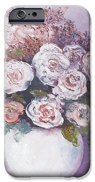 Pink and white roses iPhone Case by Jan Matson
