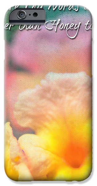 Pink and Yellow Lantana with verse iPhone Case by Debbie Portwood