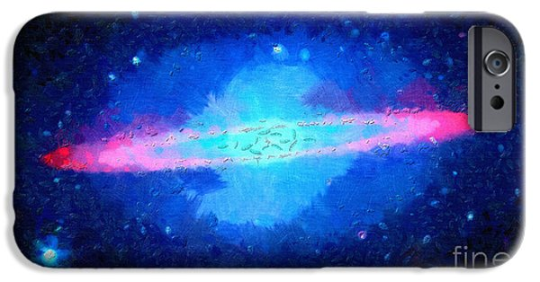 Outer Space Paintings iPhone Cases - Pink area around star iPhone Case by Magomed Magomedagaev