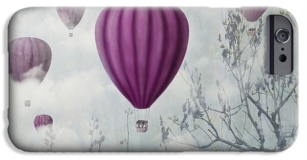 Hot Air Balloon iPhone Cases - Pink Balloons iPhone Case by Jelena Jovanovic