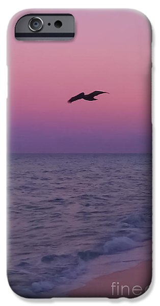 A Summer Evening Landscape iPhone Cases - Pink Beach Sunset iPhone Case by Charlie Cliques