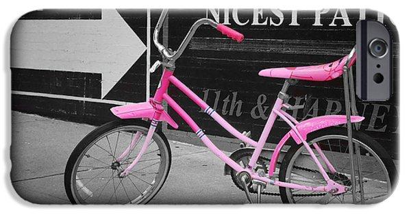 Nebraska iPhone Cases - Pink Bike iPhone Case by Nikolyn McDonald