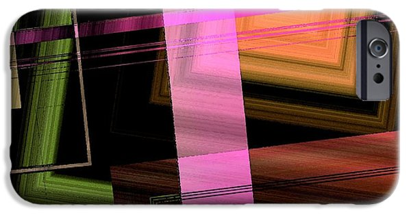 Green Surreal Geometry iPhone Cases - Pink Brown and Green Abstract Geometric iPhone Case by Mario  Perez