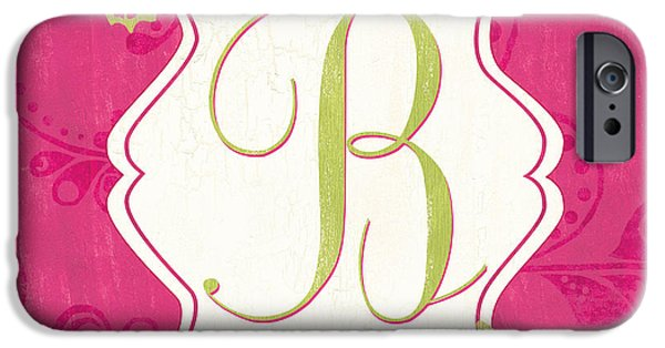 Flight Paintings iPhone Cases - Pink Butterfly Monogram iPhone Case by Debbie DeWitt