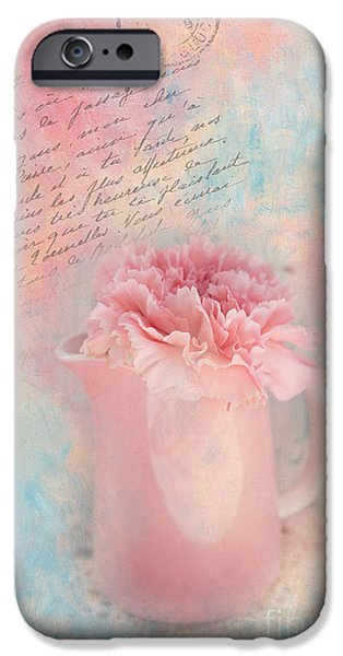 Kaypickens.com iPhone Cases - Pink Carnation in Pitcher iPhone Case by Kay Pickens