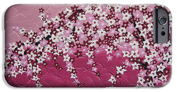 Cherry Blossoms Mixed Media iPhone Cases - Pink Cherry Blossom iPhone Case by Cathy Jacobs
