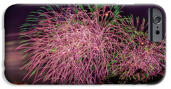 Fireworks iPhone Cases - Pink iPhone Case by Christopher Biggers