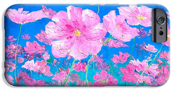 Cosmos Paintings iPhone Cases - Pink Cosmos iPhone Case by Jan Matson
