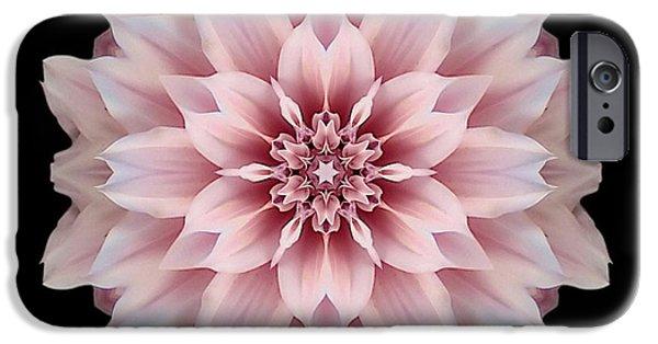 David J Bookbinder iPhone Cases - Pink Dahlia Flower Mandala iPhone Case by David J Bookbinder