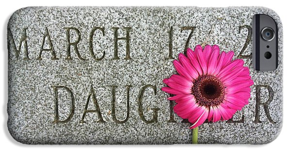 Headstones iPhone Cases - Pink Daisy on Grave for Daughter iPhone Case by Amy Cicconi