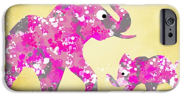 Elephant iPhone Cases - Pink Elephants iPhone Case by Christina Rollo