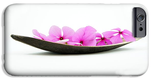 Kayak iPhone Cases - Pink Flower Boat iPhone Case by Aged Pixel
