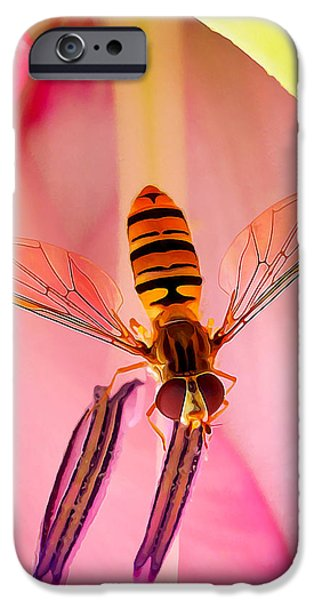 Floral Digital Art Digital Art Photographs iPhone Cases - Pink Flower Fly iPhone Case by Bill Caldwell -        ABeautifulSky Photography