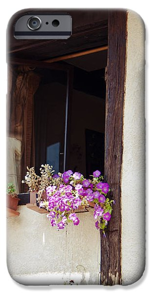 Pink Flowers at a Window iPhone Case by Nomad Art And  Design