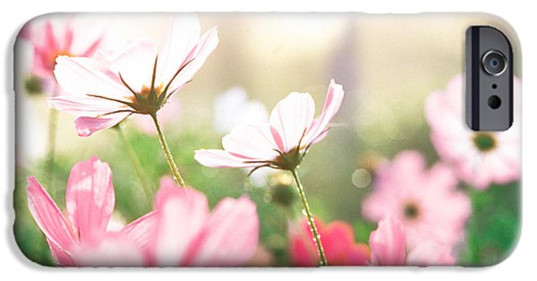 Close Focus Nature Scene iPhone Cases - Pink Flowers In Meadow iPhone Case by Panoramic Images