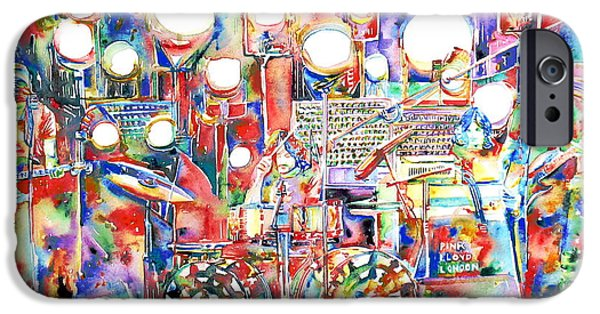 David iPhone Cases - PINK FLOYD LIVE CONCERT watercolor PAINTING.1 iPhone Case by Fabrizio Cassetta
