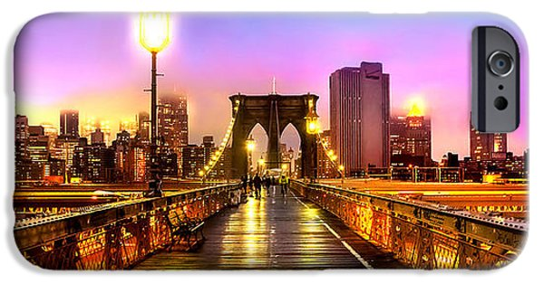 Financial District iPhone Cases - Pink Fog Of New York City iPhone Case by Az Jackson