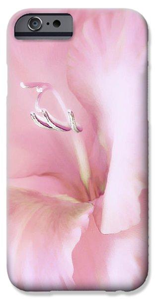 Pink Gladiolus Flower iPhone Case by Jennie Marie Schell