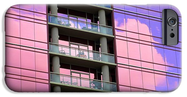 Uptown Charlotte iPhone Cases - Pink Glass Clouds iPhone Case by Randall Weidner