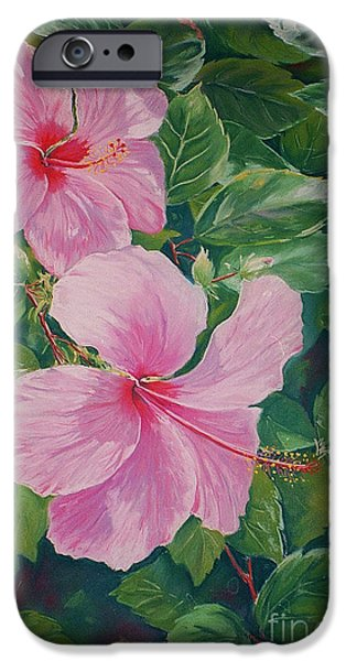 Plant Pastels iPhone Cases - Pink Hibiscus iPhone Case by John Clark