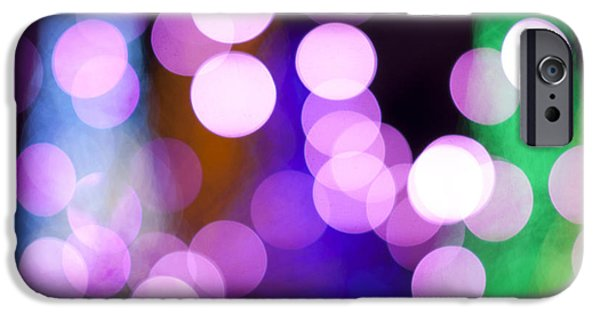 Bokeh iPhone Cases - Pink Holiday Lights iPhone Case by Juli Scalzi
