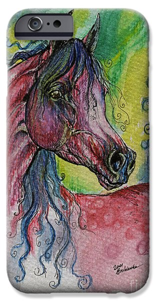 Lilacs Drawings iPhone Cases - Pink Horse With Blue Mane iPhone Case by Angel  Tarantella