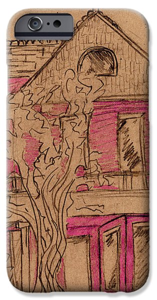 Thinking Pastels iPhone Cases - Pink House iPhone Case by Amelia Mickelsen