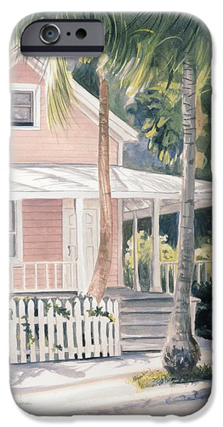 Porch iPhone Cases - Pink House iPhone Case by Lucie Bilodeau