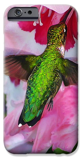 Floral Digital Art Digital Art Photographs iPhone Cases - Pink Hummer iPhone Case by Bill Caldwell -        ABeautifulSky Photography