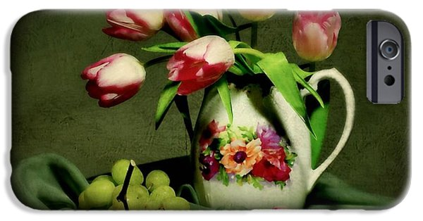 Still Life With Pitcher iPhone Cases - Pink in a Pitcher iPhone Case by Diana Angstadt